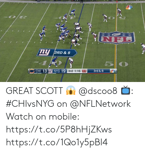 Memes, Mobile, and Watch: NF  ny  3RD & 8  5 0  CHI 13 nu NYG 19 3rd 1:16 03  3rd & 8 GREAT SCOTT 😱 @dscoo8  📺: #CHIvsNYG on @NFLNetwork Watch on mobile: https://t.co/5P8hHjZKws https://t.co/1Qo1y5pBI4