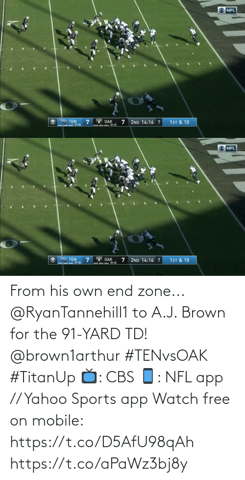 zone: NFL  14  T TEN  (7-5)  OAK  (6-6)  1ST & 10  2ND 14:16 7   NFL  14  O TEN  (7-5)  Y OAK  16-6)  1 ST & 10  2ND 14:16 7 From his own end zone...  @RyanTannehill1 to A.J. Brown for the 91-YARD TD! @brown1arthur #TENvsOAK #TitanUp  📺: CBS 📱: NFL app // Yahoo Sports app Watch free on mobile: https://t.co/D5AfU98qAh https://t.co/aPaWz3bj8y