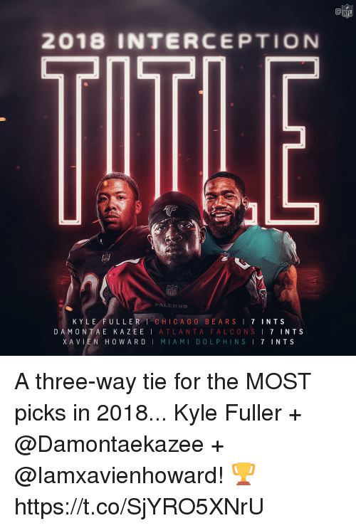Miami Dolphins: NFL  2018 INTERCEPTION  KYLE FULLER CHICA G O BEARSI 7 INTS  DAMONTA E KAZEE | ATLANTA FALCONS ! 7 INTS  XAVLEN HOWARD | MIAMI DOLPHINS I 7 INTS A three-way tie for the MOST picks in 2018...   Kyle Fuller + @Damontaekazee + @Iamxavienhoward! 🏆 https://t.co/SjYRO5XNrU