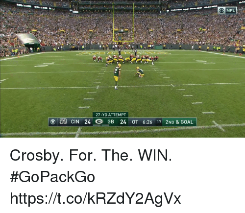 Memes, Nfl, and Goal: NFL  27-YD ATTEMPT  (B CIN 24 G GB 24 OT 6:26 17 210& GOAL Crosby. For. The. WIN. #GoPackGo https://t.co/kRZdY2AgVx