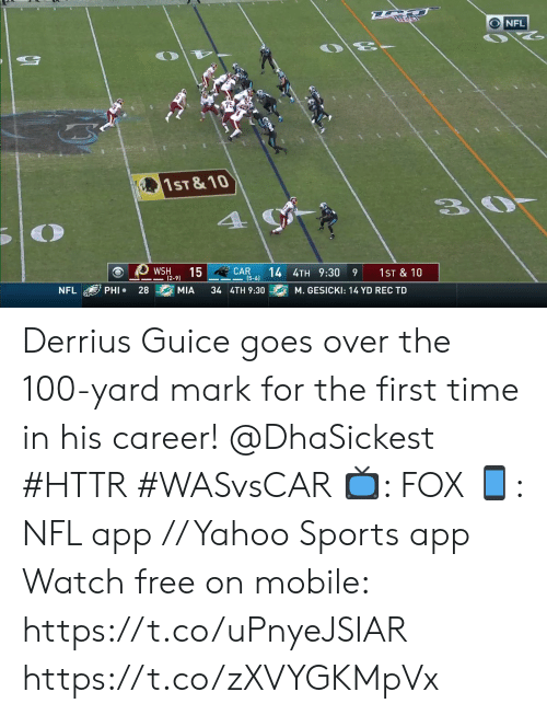 10 4: NFL  75  1ST & 10  4  CAR  (5-6)  15  14 4TH 9:30  WSH  1ST & 10  9  (2-9)  PHI  28  MIA  34 4TH 9:30  NFL  M. GESICKI: 14 YD REC TD Derrius Guice goes over the 100-yard mark for the first time in his career! @DhaSickest #HTTR #WASvsCAR  📺: FOX 📱: NFL app // Yahoo Sports app Watch free on mobile: https://t.co/uPnyeJSIAR https://t.co/zXVYGKMpVx