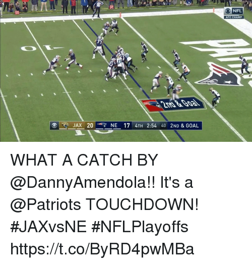Memes, Nfl, and Patriotic: NFL  AFC CHAMP  JAX 20  NE 17 4TH 2:54 40 2ND & GOAL WHAT A CATCH BY @DannyAmendola!!  It's a @Patriots TOUCHDOWN!  #JAXvsNE #NFLPlayoffs https://t.co/ByRD4pwMBa