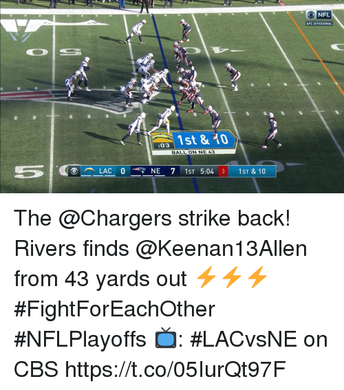 strike back: NFL  AFC DIVISIONAL  s 1st & 0  :03  BALL ON NE 43 The @Chargers strike back!  Rivers finds @Keenan13Allen from 43 yards out ⚡️⚡️⚡️  #FightForEachOther #NFLPlayoffs  📺: #LACvsNE on CBS https://t.co/05IurQt97F