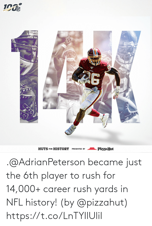 Became: NFL  ddel  Riddell  REDSKIKS  Pizza Hut  PRESENTED BY  HUTS FOR HISTORY .@AdrianPeterson became just the 6th player to rush for 14,000+ career rush yards in NFL history!   (by @pizzahut) https://t.co/LnTYIlUliI