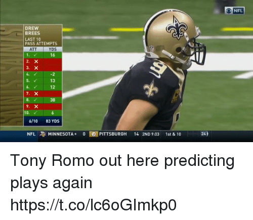 Tony Romo: NFL  DREW  BREES  LAST 10  PASS ATTEMPTS  ATT  YDS  16  5.  13  12  8.  38  10.  6/10 83 YDS  NFL  MINNESOTA+  0T67 PITTSBURGH  14 2ND 9:03  1st&10  24) Tony Romo out here predicting plays again  https://t.co/lc6oGImkp0