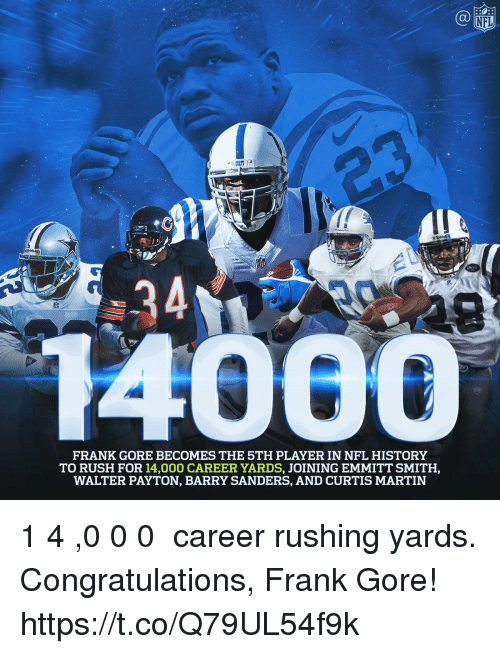 Frank Gore: NFL  FRANK GORE BECOMES THE 5TH PLAYER IN NFL HISTORY  TO RUSH FOR 14,000 CAREER YARDS, JOINING EMMITT SMITH,  WALTER PAYTON, BARRY SANDERS, AND CURTIS MARTIN 1️⃣4️⃣,0️⃣0️⃣0️⃣ career rushing yards.  Congratulations, Frank Gore! https://t.co/Q79UL54f9k