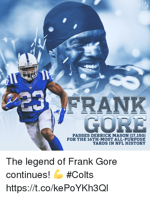Frank Gore: NFL  GORE  PASSES DERRICK MASON (17,150)  FOR THE 16TH-MOST ALL-PURPOSE  YARDS IN NFL HISTORY The legend of Frank Gore continues! 💪  #Colts https://t.co/kePoYKh3Ql
