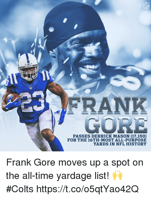 Frank Gore: NFL  GORE  PASSES DERRICK MASON (17,150)  FOR THE 16TH-MOST ALL-PURPOSE  YARDS IN NFL HISTORY Frank Gore moves up a spot on the all-time yardage list! 🙌  #Colts https://t.co/o5qtYao42Q