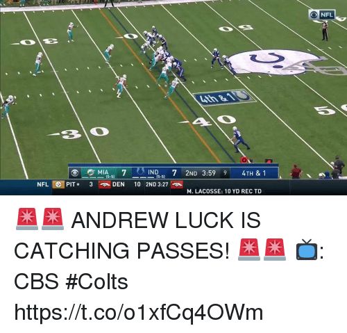 Andrew Luck: NFL  IND. 7 2ND 3:59 9 4TH & 1  15-5)  NFL OPIT. 3  DEN 10 2ND 3:27  M. LACOSSE: 10 YD REC TD 🚨🚨 ANDREW LUCK IS CATCHING PASSES! 🚨🚨  📺: CBS #Colts https://t.co/o1xfCq4OWm