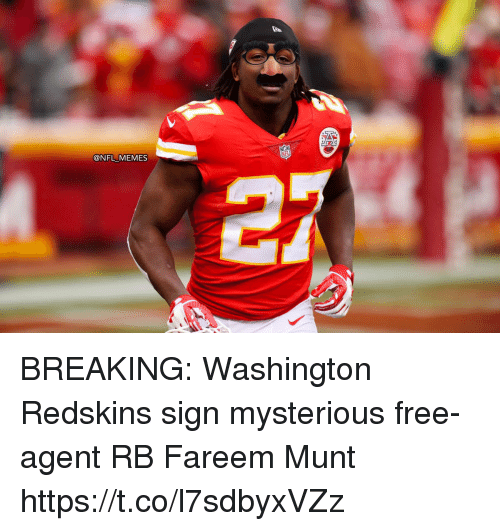 washington redskins: @NFL MEMES BREAKING: Washington Redskins sign mysterious free-agent RB Fareem Munt https://t.co/l7sdbyxVZz