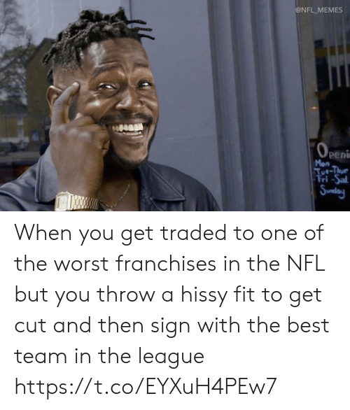 The League: @NFL_MEMES  OPEni  peni  Mon  Tut-Thue  Fri-Sal  Sunday When you get traded to one of the worst franchises in the NFL but you throw a hissy fit to get cut and then sign with the best team in the league https://t.co/EYXuH4PEw7