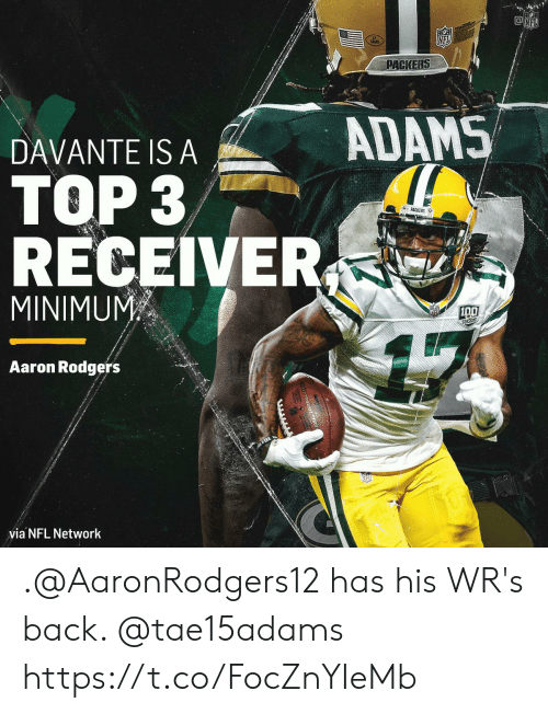 Aaron Rodgers, Memes, and Nfl: NFL  NFL  PACKERS  ADAMS  DAVANTE IS A  TOP 3  &PACKERS  RECEIVER  MINIMUM  SERSONS  Aaron Rodgers  via NFL Network .@AaronRodgers12 has his WR's back. @tae15adams https://t.co/FocZnYIeMb