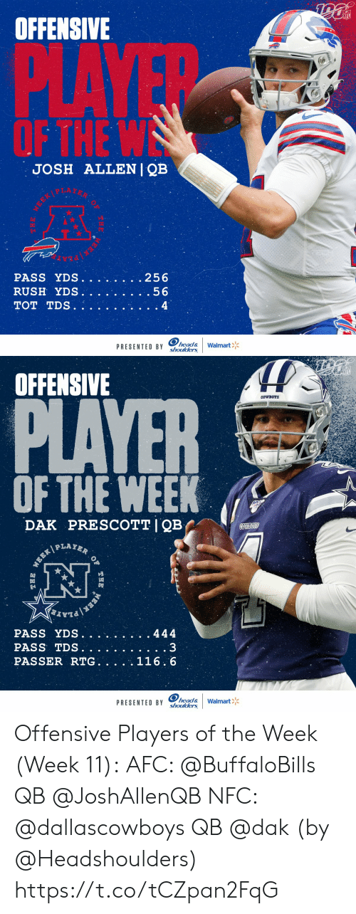 Dallas Cowboys, Head, and Memes: NFL  OFFENSIVE  PLAYE  OF THE W  JOSH ALLENI QB  .256  PASS YDS.  RUSH YDS.  .56  TOT TDS.  4  head&  shoulders  Walmart  PRESENTED BY  THE  EEK   OFFENSIVE  PLAYER  CowBOYS  OF THE WEEK  PRESCOTT I QB  DAK  COWBOS  PLAYER  WEEK  PASS YDS.  444  PASS TDS.  PASSER RTG. .  116.6  head&  shoulders  PRESENTED BY  Walmart  OF  THE  ERK  THE Offensive Players of the Week (Week 11):  AFC: @BuffaloBills QB @JoshAllenQB  NFC: @dallascowboys QB @dak    (by @Headshoulders) https://t.co/tCZpan2FqG