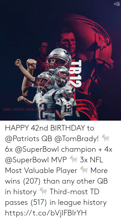 Superbowl: NFL  PAZIROTS  XXXVI XXXVIII XXXIX X  T  TR12 HAPPY 42nd BIRTHDAY to @Patriots QB @TomBrady! 🐐 6x @SuperBowl champion + 4x @SuperBowl MVP 🐐 3x NFL Most Valuable Player 🐐 More wins (207) than any other QB in history 🐐 Third-most TD passes (517) in league history https://t.co/bVjIFBIrYH