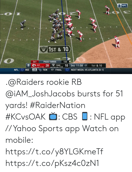 Memes, Nfl, and Sports: NFL  RAIDERS  1ST& 10  341  PASS YARDS  133  S OAK  (1-0)  KC  28  10 3RD 11:58 17  1ST & 10  (1-0)  NFL IND  19  TEN  NEXT WEEK: VS ATLANTA (0-1)  17 FINAL .@Raiders rookie RB @iAM_JoshJacobs bursts for 51 yards! #RaiderNation #KCvsOAK  📺: CBS 📱: NFL app // Yahoo Sports app Watch on mobile: https://t.co/y8YLGKmeTf https://t.co/pKsz4c0zN1