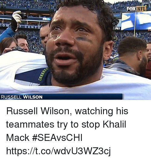 Nfl, Russell Wilson, and Sports: NFL  RUSSELL WILSON Russell Wilson, watching his teammates try to stop Khalil Mack #SEAvsCHI https://t.co/wdvU3WZ3cj