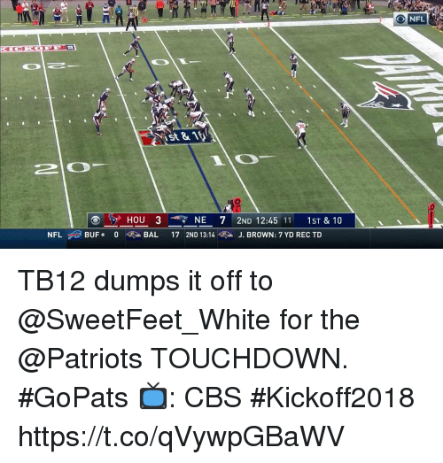 Dumps: NFL  St81  20  HOU 3  NE 72ND 12:45 11 1ST& 10  NFL ,,) BUF.  0  硬>, BAL  17 2ND 13:14噬 > J. BROWN: 7 YD REC TD TB12 dumps it off to @SweetFeet_White for the @Patriots TOUCHDOWN. #GoPats  📺: CBS #Kickoff2018 https://t.co/qVywpGBaWV