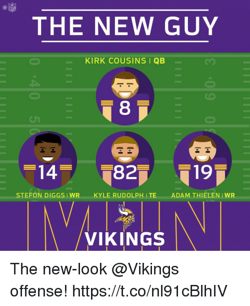 Stefon: NFL  THE NEW GUY  KIRK COUSINS I QB  8  STEFON DIGGSIWRKYLE RUDOLPH ITE  ADAM THIELEN IWR  /VIKINGS The new-look @Vikings offense! https://t.co/nl91cBlhIV
