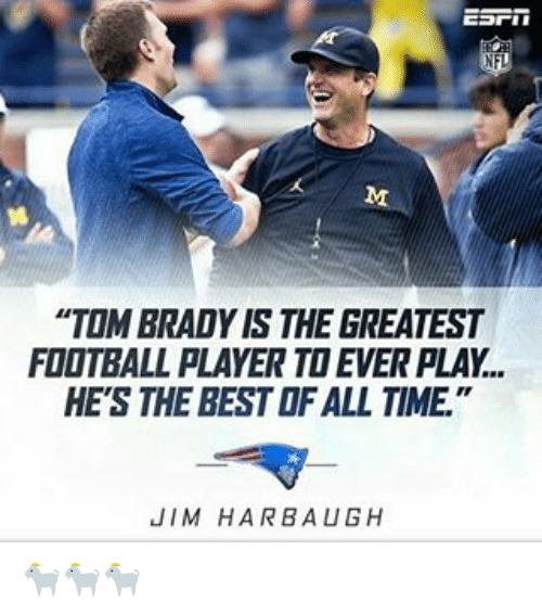 """Jim Harbaugh: NFL  """"TOM BRADY IS THE GREATEST  FOOTBALL PLAYER TO EVER PLAY..  HE'S THE BESTOFALL TIME  JIM HARBAUGH 🐐🐐🐐"""