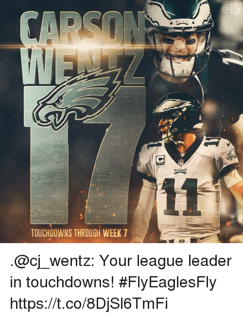Memes, Nfl, and 🤖: NFL  TOUCHDOWNS THROUGH WEEK 7 .@cj_wentz: Your league leader in touchdowns!  #FlyEaglesFly https://t.co/8DjSl6TmFi