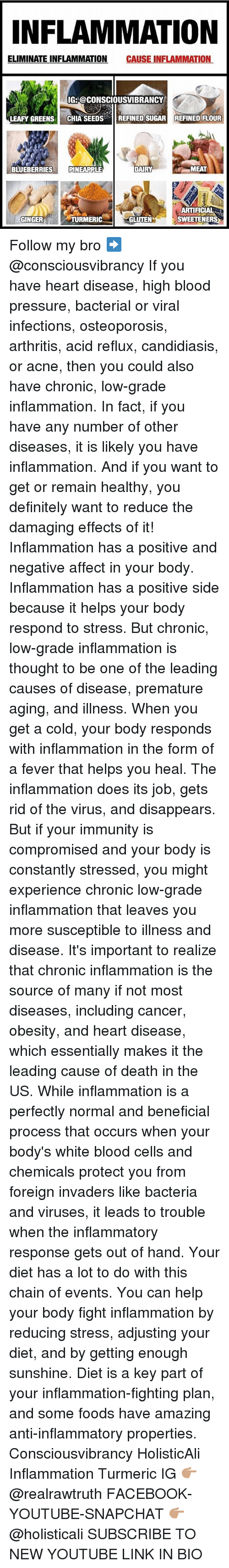 gets-out-of-hand: NFLAMMATION  ELIMINATE INFLAMMATION CAUSE INFLAMMATION  IG: @CONSCIOUSVIBRANCY  LEAFY GREENS CHIA SEEDSREFINED SUGAR REFINED FLOUR  BLUEBERRIESPINEAPPLE  MEAT  ARTIFICIAL  SWEETENERS  GINGER  TURMERIC  GLUTEN Follow my bro ➡️ @consciousvibrancy If you have heart disease, high blood pressure, bacterial or viral infections, osteoporosis, arthritis, acid reflux, candidiasis, or acne, then you could also have chronic, low-grade inflammation. In fact, if you have any number of other diseases, it is likely you have inflammation. And if you want to get or remain healthy, you definitely want to reduce the damaging effects of it! Inflammation has a positive and negative affect in your body. Inflammation has a positive side because it helps your body respond to stress. But chronic, low-grade inflammation is thought to be one of the leading causes of disease, premature aging, and illness. When you get a cold, your body responds with inflammation in the form of a fever that helps you heal. The inflammation does its job, gets rid of the virus, and disappears. But if your immunity is compromised and your body is constantly stressed, you might experience chronic low-grade inflammation that leaves you more susceptible to illness and disease. It's important to realize that chronic inflammation is the source of many if not most diseases, including cancer, obesity, and heart disease, which essentially makes it the leading cause of death in the US. While inflammation is a perfectly normal and beneficial process that occurs when your body's white blood cells and chemicals protect you from foreign invaders like bacteria and viruses, it leads to trouble when the inflammatory response gets out of hand. Your diet has a lot to do with this chain of events. You can help your body fight inflammation by reducing stress, adjusting your diet, and by getting enough sunshine. Diet is a key part of your inflammation-fighting plan, and some foods have amazing anti-inflammatory prope