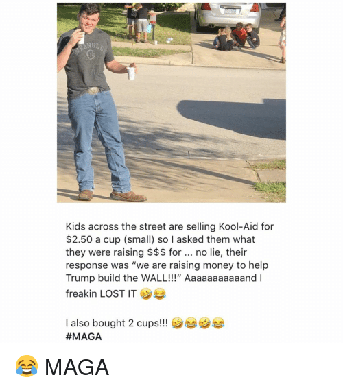 """Kool Aid: NGLE  Kids across the street are selling Kool-Aid for  $2.50 a cup (small) so I asked them what  they were raising $$$ for no lie, their  response was """"we are raising money to help  Trump build the WALL!!!"""" Aaaaaaaaaaand I  freakin LOST IT  I also bought 2 cups!!  😂 MAGA"""