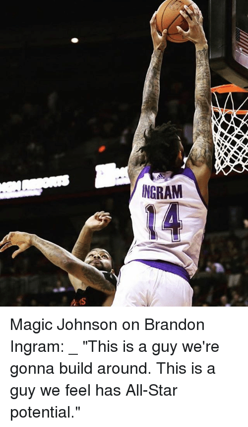"All Star, Magic Johnson, and Memes: NGRAM Magic Johnson on Brandon Ingram: _ ""This is a guy we're gonna build around. This is a guy we feel has All-Star potential."""
