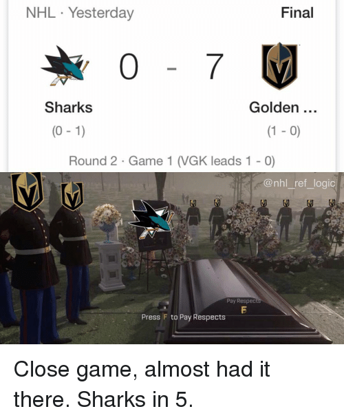 Logic, Memes, and National Hockey League (NHL): NHL Yesterday  Final  Sharks  Golden  (0 -1)  (1 - 0)  Round 2 Game 1 (VGK leads 1 - 0)  @nhl_ref_logic  Pay Respec  Press F to Pay Respects Close game, almost had it there. Sharks in 5.