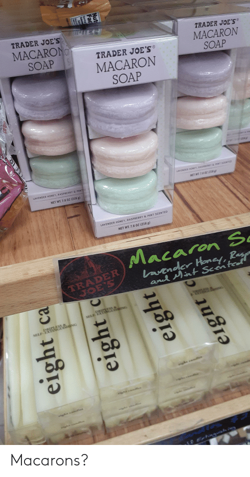 Net, Soap, and Trader Joes: NI  TRADER JOE'S  MACARONO  TRADER JOE'S  MACARON  SOAP  SOAP  TRADER JOE'S  MACARON  SOAP  LAVENDER HONEY, RASPBER0T& MINT SCENTED  LAVENDER HONEY, RASPBERRY& MINT  NET WT 7.6 OZ (218g  NET WT. 7.6 0Z (216 g)  LAVENDER HONEY, RASPBERRY & MINT SCENTED  NET WT 7.6 0Z (216 g)  Macaron S  wander Honay, Rag  ancd int Scented  TRADER  JOE'S  DIPITSS  saLE EXIIG HING  DRIMESS &  SELE IXTI UISHONG  sish xml  -  eight ca  eight  eight  eight Macarons?