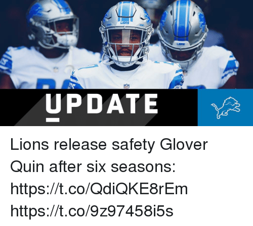 Glover: NI  UPDATE Lions release safety Glover Quin after six seasons: https://t.co/QdiQKE8rEm https://t.co/9z97458i5s