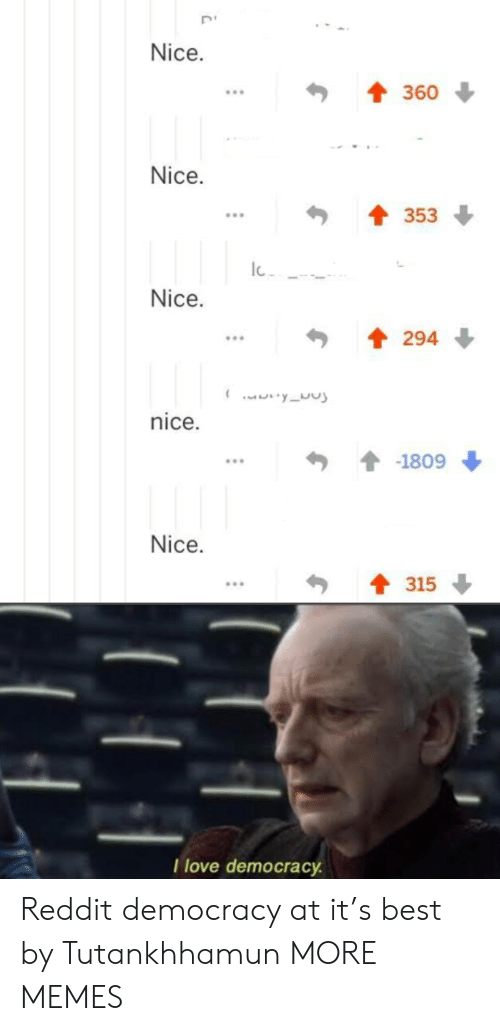 Love Democracy: Nice.  360  Nice.  353  Nice.  294  yu  nice.  -1809  Nice.  315  I love democracy Reddit democracy at it's best by Tutankhhamun MORE MEMES