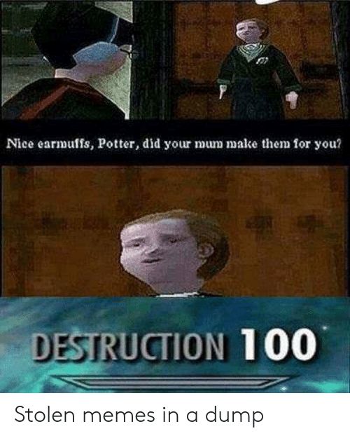 Memes, Nice, and Potter: Nice earmuffs, Potter, did your mum make the  for you?  DESTRUCTION 100 Stolen memes in a dump