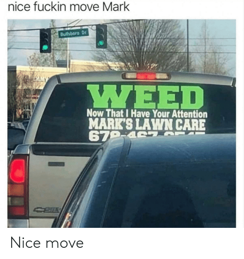 Nice, Move, and Now: nice fuckin move Mark  Bullsboro Dr  MY  Now That I Have Your Attention  MARK'S LAWN CARE  679-4 S Nice move