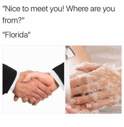 "where are you from: ""Nice to meet you! Where are you  from?'""  ""Florida"""