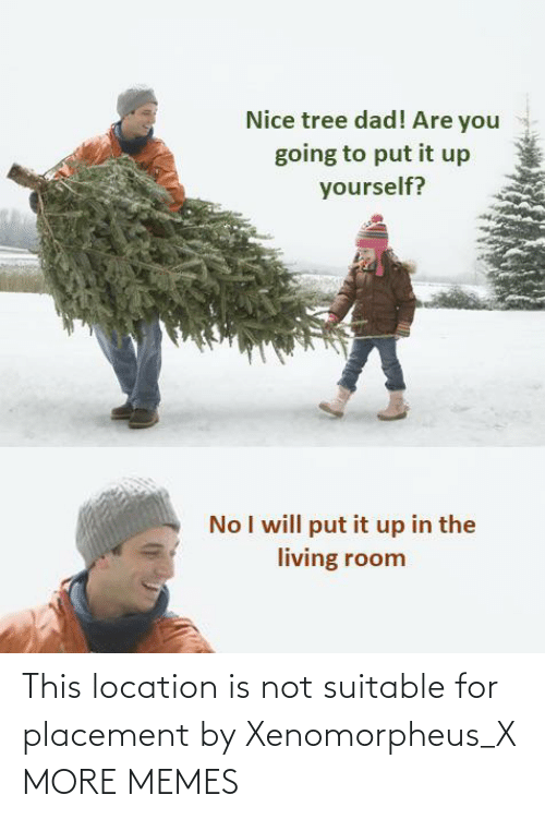 Dad, Dank, and Memes: Nice tree dad! Are you  going to put it up  yourself?  No I will put it up in the  living room This location is not suitable for placement by Xenomorpheus_X MORE MEMES