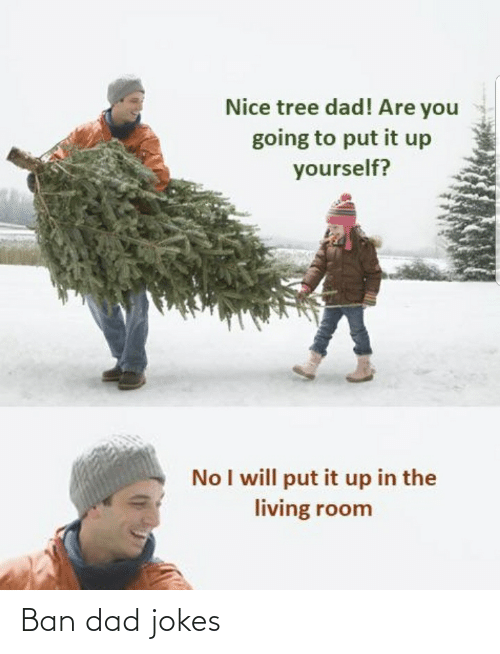 Dad, Jokes, and Tree: Nice tree dad! Are you  going to put it up  yourself?  No I will put it up in the  living room Ban dad jokes