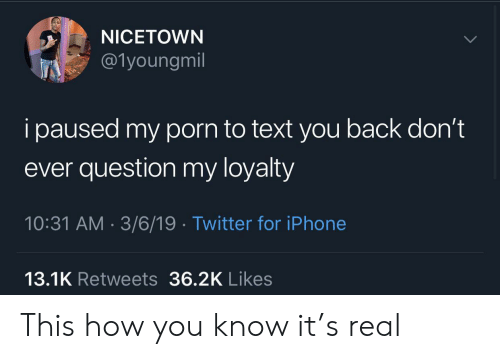 3 6: NICETOWN  @1youngmil  i paused my porn to text you back don't  ever question my loyalty  10:31 AM 3/6/19 Twitter for iPhone  13.1K Retweets 36.2K Likes This how you know it's real