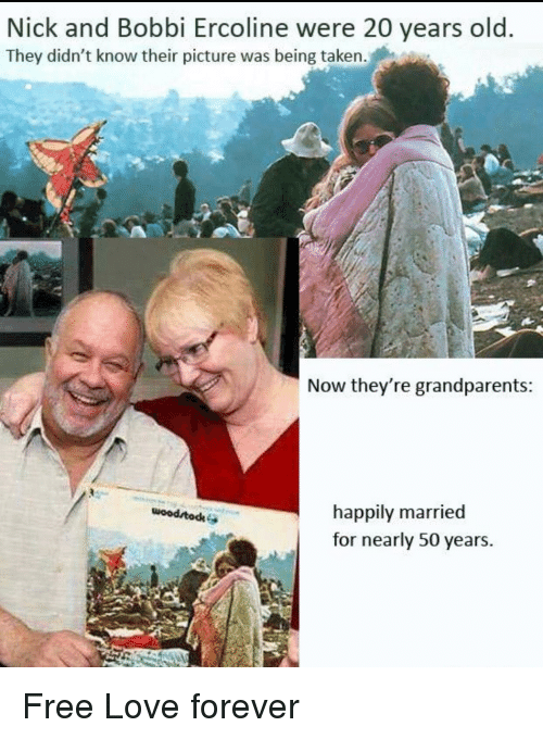 happily married: Nick and Bobbi Ercoline were 20 years old  They didn't know their picture was being taken.  Now they're grandparents  happily married  for nearly 50 years.  wood todk <p>Free Love forever</p>