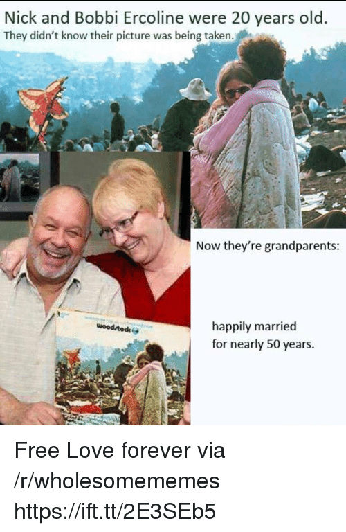 happily married: Nick and Bobbi Ercoline were 20 years old  They didn't know their picture was being taken.  Now they're grandparents  happily married  for nearly 50 years.  woodrtodke Free Love forever via /r/wholesomememes https://ift.tt/2E3SEb5
