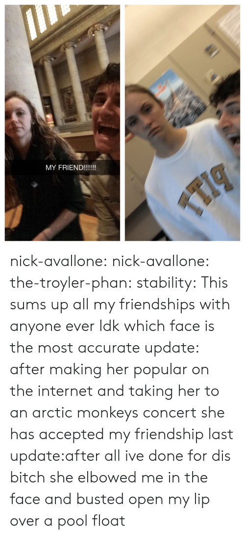 arctic monkeys: nick-avallone:  nick-avallone:  the-troyler-phan:  stability:  This sums up all my friendships with anyone ever  Idk which face is the most accurate  update: after making her popular on the internet and taking her to an arctic monkeys concert she has accepted my friendship   last update:after all ive done for dis bitch she elbowed me in the face and busted open my lip over a pool float