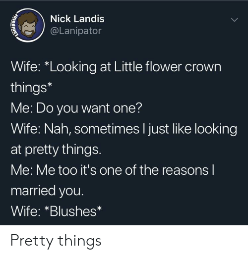 "crown: Nick Landis  @Lanipator  Wife: ""Looking at Little flower crown  things*  Me: Do you want one?  Wife: Nah, sometimes I just like looking  at pretty things.  Me: Me too it's one of the reasons l  married you.  Wife: *Blushes Pretty things"