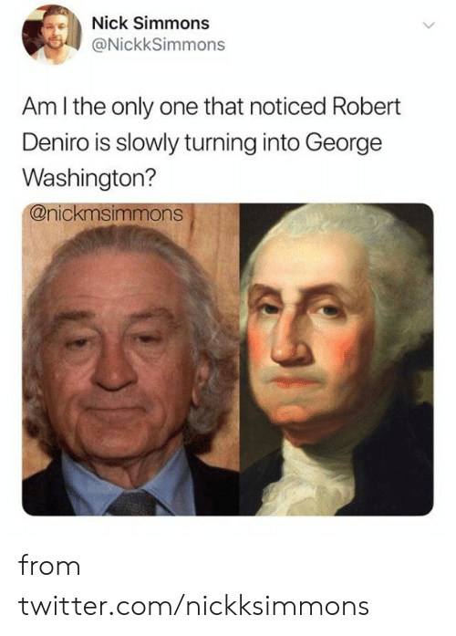 Am I the Only One: Nick Simmons  @NickkSimmons  Am I the only one that noticed Robert  Deniro is slowly turning into George  Washington?  @nickmsimmons from twitter.com/nickksimmons