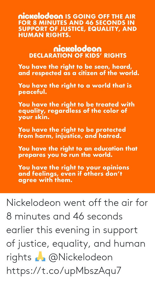 support: Nickelodeon went off the air for 8 minutes and 46 seconds earlier this evening in support of justice, equality, and human rights 🙏 @Nickelodeon https://t.co/upMbszAqu7