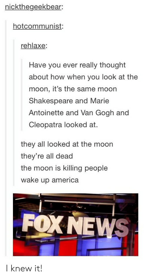 America, News, and Shakespeare: nickthegeekbear:  hotcommunist:  rehlaxe:  Have you ever really thought  about how when you look at the  moon, it's the same moon  Shakespeare and Marie  Antoinette and Van Gogh and  Cleopatra looked at.  they all looked at the moon  they're all dead  the moon is killing people  wake up america  FOX NEWS I knew it!