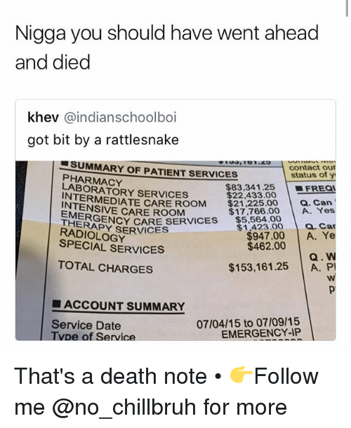 Death Note: Nigga you should have went ahead  and died  khev @indianschoolboi  got bit by a rattlesnake  , '01.49  SUMMARY OF PATIENT SERVICES  PHARMACY  LABORATORY SERVICES  contact our  status of y  $83.34 1.25 |-FREQ  $22,433.00  RMEDIATE CARE ROOM $21,22500 a. Can  $17,766.00 A. Yes  1423.00 . Car  $947.00 A. Ye  Q. W  $153,161.25 A. P  INTENSIVE CARE ROOM  ▼$5,564.00  EMERGE  THERAPY SERVICES  NCY CARE SERVICES  RADIOLOGY  SPECIAL SERVICES  $462.00  TOTAL CHARGES  ■ ACCOUNT SUMMARY  Service Date  Tvpe of Service  07/04/15 to 07/09/15  EMERGENCY-IP That's a death note • 👉Follow me @no_chillbruh for more
