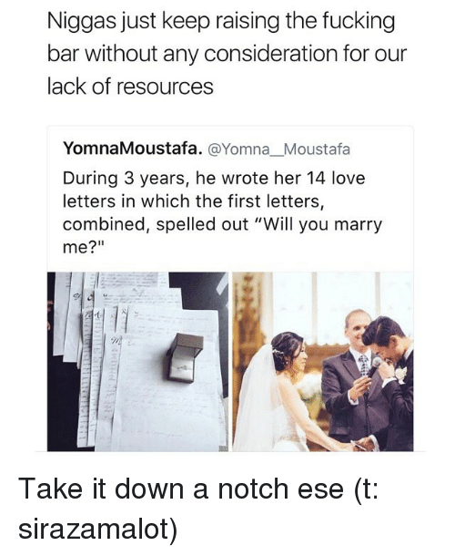"""take it down a notch: Niggas just keep raising the fucking  bar without any consideration for our  lack of resources  YomnaMoustafa. @Yomna Moustafa  During 3 years, he wrote her 14 love  letters in which the first letters,  combined, spelled out """"Will you marry  me?"""" Take it down a notch ese (t: sirazamalot)"""
