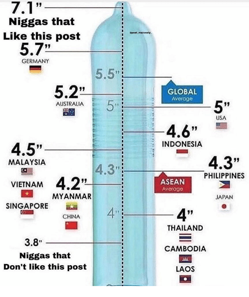 "Malaysia: Niggas that  Like this post  Spost malonely  5.7""  GERMANY  5.5""  5.2""  GLOBAL  AVerage  5""  AUSTRALIA  USA  4.6""  4.5""  VIENAM 4.2""  SINGAPORE  INDONESIA  4.3""  MALAYSIA  4.3"":  PHILIPPINES  ASEAN  Average  MYANMAR  JAPAN  4""  CHINA  THAILAND  CAMBODIA  LAOS  3.8  Niggas that  Don't like this post"