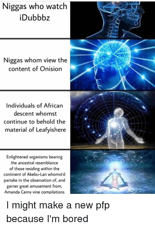 Observative: Niggas who watch  Dubbb  Niggas whom view the  content of Onision  Individuals of African  descent whomst  continue to behold the  material of Leafyishere  Enlightened organisms bearing  the ancestral resemblance  of those residing within the  continent of Akebu-Lan whomst'd  partake in the observation of, and  garner great amusement from,  Amanda Cerny vine compilations I might make a new pfp because I'm bored