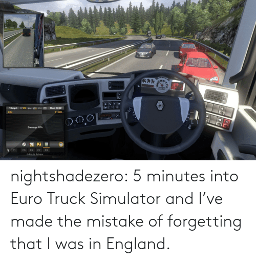 Forgetting: nightshadezero: 5 minutes into Euro Truck Simulator and I've made the mistake of forgetting that I was in England.
