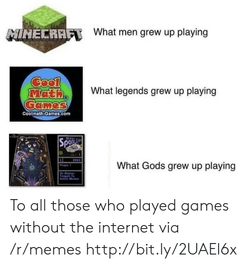 Internet, Memes, and Cool: NIHECRAET  What men grew up playing  Cool  Math  Games  What legends grew up playing  Coolmath-Games.com  Spa  BALL: 1  9500  1  What Gods grew up playing  Ployer  Hit Mission  Torges Te  Selot Mission To all those who played games without the internet via /r/memes http://bit.ly/2UAEl6x